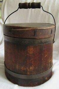 Small 6 5 Antique Wood Firkin Sugar Bucket Great Patina Country Primitive Box