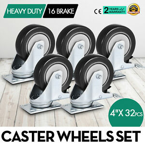32 Pack 4 Inch Swivel Plate Casters W 16 Brakes Pu Warehouse Carts Steel