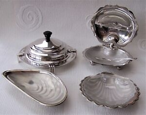 Job Lot Silver Plated Vintage Butter Conserve Dishes C W Frosted Glass Liners