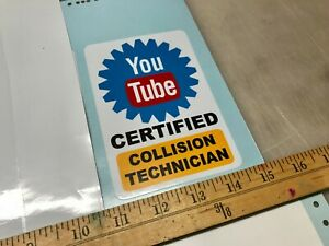 Youtube Certified Collision Technician Ase Sticker Decal Body Shop Hammer Dolly
