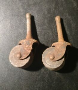 Vintage Wooden Furniture Caster Wheels Rollers Wood Metal Set Of 2 Lot 4
