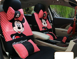 20pcs Red Universal Four Season Cartoon Mickey Mouse Car Seat Cover Car Covers