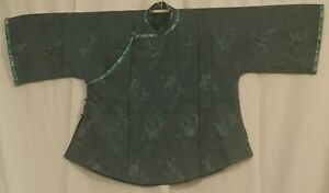 Antique Chinese Silk Brocade Birds Pine Robe Jade Buttons Qing Dynasty Euc