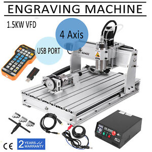 Usb 4axis 6040 Cnc Router Engraver Milling Machine Spindle Motor Remote Control