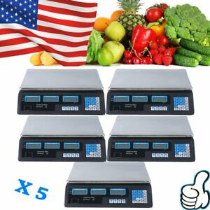 5x Digital Weight Scale 40kg Price Computing Food Meat Scale Produce Indutrial