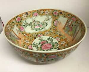 Large 20th Century Chinese Canton Famille Rose Punch Bowl 14 4 36cm Diameter