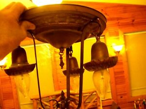 Antique 3 Light Ceiling Mount Lamp Fixture With 12 Diameter Canopy