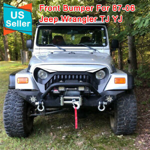 For 87 06 Jeep Wrangler Tj Yj Car Rock Crawler Front Bumper Cree Fog Lights