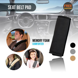 2pc Black Seat Belt Pads Comforter Car Safety Soft Shoulder Strap Cover Cushion