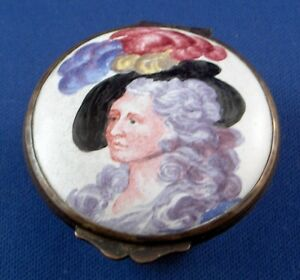 Antique Lady Portrait Enamel Pill Snuff Box Staffordshire Bilston Battersea