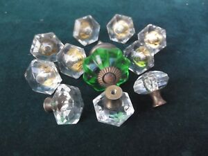Vtg Cut Glass Brass Drawer Cabinet Pull Knobs 11 Pcs Gc Free Shipping