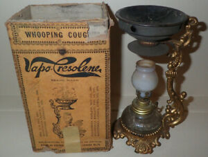 Antique Vtg Vapo Cresolene Vaporizer Medical Whooping Cough Mini Lamp In Box