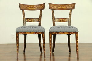 Dutch Antique Inlaid Marquetry Pair Of Dining Or Side Chairs 30724
