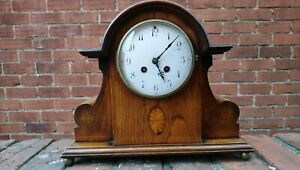 Edwardian Inlaid Oak Case 8 Day Striking Mantel Clock French Movement