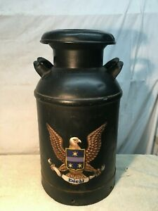 Vintage 10 Gallon Metal Milk Can Tole Painted American Eagle Military Folk Art