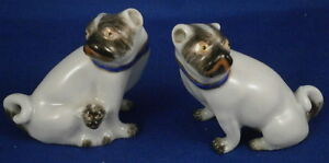 Antique Porcelain Pair Of Pug Dog S Figurine Figure Porzellan Mops Family French