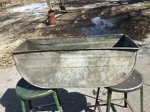 Vintage Extra Large Double Galvanized Oval Wash Tub 31 5 X 10 X 12 Planter