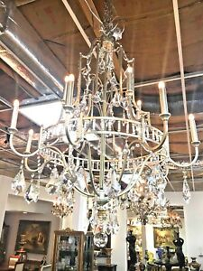 French Style Bronze And Crystal Chandelier