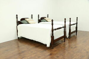 Pair Antique Mahogany Twin Or Single Poster Beds 30585