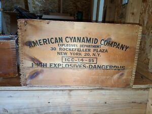 Antique Vtg Wooden American Cyanamid High Explosive Dynamite Crate Dovetail Box