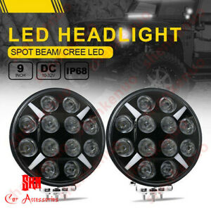 2pc 9inch 120w High Power Led Round Work Light Headlight For Jeep Ford Toyota