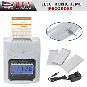 New Lcd Attendance Time Clock 100 Cards Employee Recorder Desktop