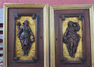 Antique French Black Florest Hand Carved Wood Cabinet Doors Nymph Nude Woman