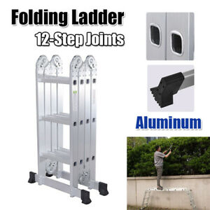 12 5 Ft Folding Ladder Aluminum Multi Purpose Extension Ladders Building Supplie