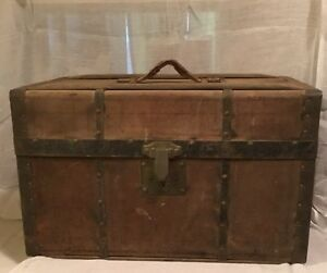 Antique Uniform Trunk Wood Metal Canvas Late 1800s Early 1900s