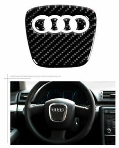 New Carbon Fiber For Audi Steering Wheel Insert Badge Sticker Emblem Decoration