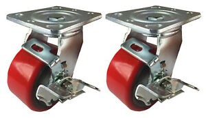2 Caster 4 5 6 8 Polyurethane On Cast Iron Rigid Swivel Total Lock Brake