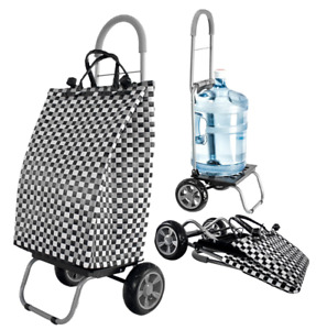 Trolley Dolly Basket Weave Tote Black Shopping Grocery Foldable Cart Picnic