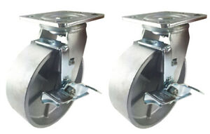 2 Heavy Duty Caster Set 4 5 6 8 Steel Wheels Rigid Swivel Brake To