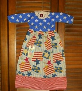 Primitive Americana Patriotic Stars N Stripes Dress Grungy Decor July 4th Usa