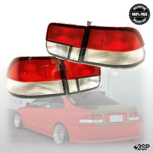 For 96 98 Honda Civic Coupe Jdm Red Clear 2dr Tail Lights Brake Lamps Pair