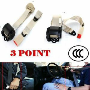 For Kia Car Vehical 3 Point Safety Retractable Seat Belt Universal Strap Beige