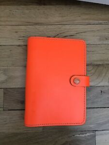Filofax Original Neon Fluro Orange Personal Leather Planner