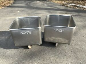 Used Stainless Steel Koch Meat Or Dough Bin Tote Tank On Casters Priced Each