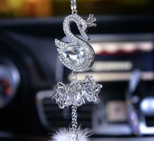 Crystal Swan Auto Car Mirror Pendant Car Interior Jewelry Decor Hanging Ornament
