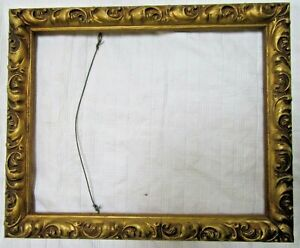 Antique Fits 8 X 10 Lemon Gold Gilt Picture Frame Wood Gesso Ornate Fine Art