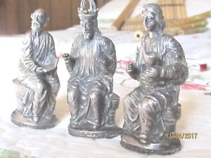 Antique Sterling Silver Christian 3 Figurines German Mid 19th Century 99 Grams