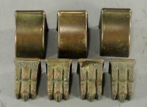 2 Sets Vintage Antique Brass Table Leg Feet Metal Claw Foot Hardware