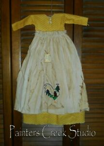 Primitive Wall Decor Dress Yellow W Apron Rooster Saltbox Grungy Folkart
