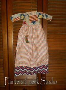 Primitive Americana Patriotic Dress Grungy Decor 4th Of July Grungy Usa