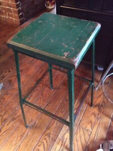 Vintage 31 Heavy Wood Metal Stool 12 Square Wood Seat Very Good