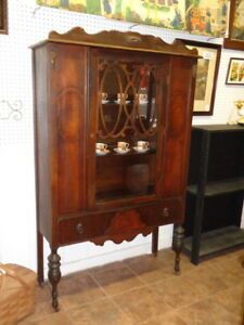 Stunning Antique China Cabinet Dated 1929 Great Original Drawer Pulls