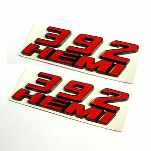 2pcs Red Black 392 Emblem Fender Side Badge Sticker Decal