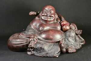 Large Chinese Yixing Pottery Happy Buddha Figurine Marked 13 Inches Long
