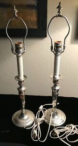 Frederick Cooper Pair Of Vintage Silver Candlestick Lamps