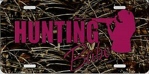 Hunting Babe Pink On Camo Metal License Plate